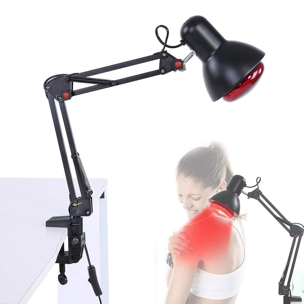 Luz de terapia de calentamiento L/ámpara de fisioterapia de calor infrarroja Luz de terapia de calentamiento Alivio del dolor Cuidado de la salud Enchufe de la UE negro L/ámpara de calor infrarroja