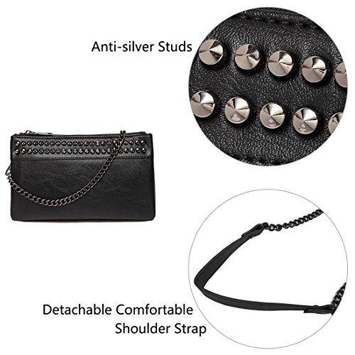 Wallet Faux Studs Women for Black Crossbody Clutch VASCHY Clutch SAC Evening Large Wristlet Soft Leather Purses 7qaAnxw74