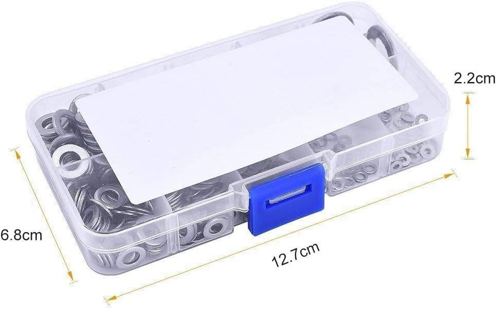 M2-M10 Livr/é avec bo/îte Rondelles Plates en Acier Inoxydable,Rondelle de Serrure pour L/étanch/éit/é des Vis Bagues D/étanch/éit/é,8 Tailles gotyou 360 Pcs Rondelles Plates Assortiment Kit