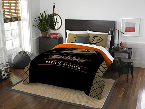 The Northwest Company Officially Licensed NHL Anaheim Ducks Draft Full/Queen Comforter and 2 Sham Set, Black/Gold