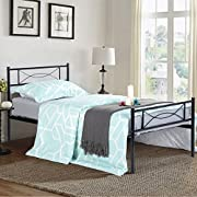 SimLife Metal Bed Frame Twin Size 6 Legs Two Headboards Mattress Foundation Steel Platform Bed for Kids Box Spring Replacement Black