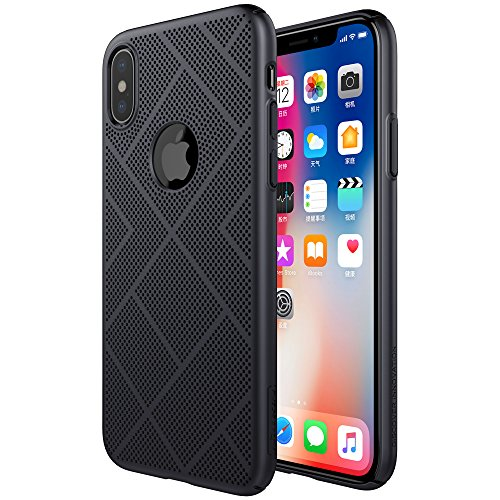 iPhone X Case, Nillkin Air Series Breathable Cooling Mesh Case, Hard PC Ultra Slim & Lightweight Back Cover[Support Wireless Charge] for Apple iPhone X - Black