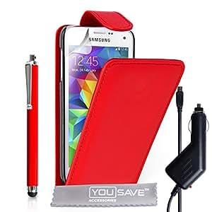 Yousave Accessories de piel sintética con tapa incluye lápiz capacitivo y cargador de coche para Samsung Galaxy S5 Mini - rojo