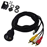 BITOO 2 Meter 6.6ft USB and 3RCA AUX Dash Mount Extension Cable, USB & 3RCA to USB and 3.5mm Aux Dash Mount for Car, Boat, Motorcycle and More