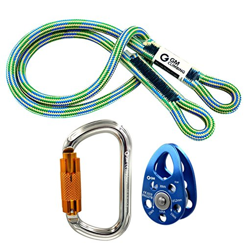 - GM CLIMBING Hitch Slack Tending Pulley Kit for Doubled Rope Climbing System Basic Unit of General Hauling - 30kN Micro Pulley & Oval Locking Carainber & 30in 8mm VT Prusik