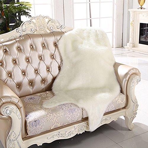 Yazi Kunstfell Pelz Stil Extra Großen Teppich, langlebig Teppich für Living Schlafzimmer weiß 75x 115cm