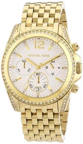 Michael Kors Pressley Chronograph White Dial Gold-tone Ladies Watch MK5835 - Chronograph White Dial