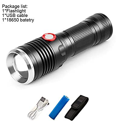 E, XML L2 : Powerful 8000LM USB CREE XM-L2 LED Tactical Flashlight Lantern Aluminum Torch Flash Light Camping Lamp with Smart Power Reminder