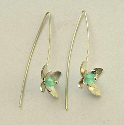 Sterling silver flower long hook blue quartz floral dangle earrings - Hanging Flower E7890