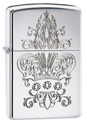 Zippo Fleur De Lis Design with Crystals High Polished Chrome Pocket Lighter