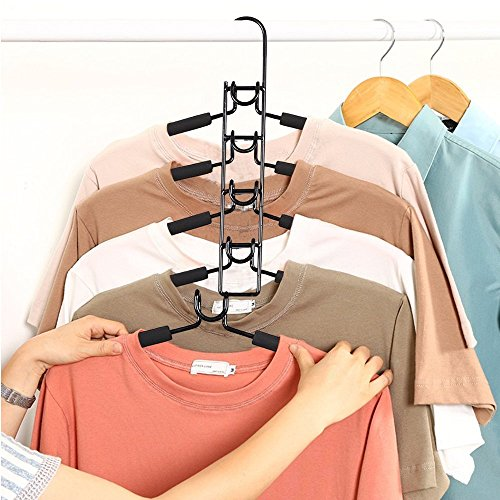 SUPOW Clothes Hangers, 5 in 1 Multi-layer Nop-Slip Wardrobe Clothes Rack Metal Space Saver Clothes Storage Clothes Rack for jacket, Coat, Sweater,Trousers, Shirt, T-Shirt, Ect. (Kid's size)(Black.)