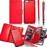 Electronics Women Best Deals - Vandot Apple iPhone 5 5S SE Case,Premium Fashion Multi-purpose PU Leather Wallet Case Women Hangbag With Card Slots Flip Folio Magnetic Closure Book Style Cover Protective Skin Shell + Detachable Wrist Strap+Screen Stylus Touch Pen-Red