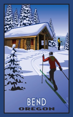Northwest Art Mall Bend Oregon Cross Country Skiers and Cabin Artwork by Paul B. Leighton, 11-Inch by - Bend Oregon Mall