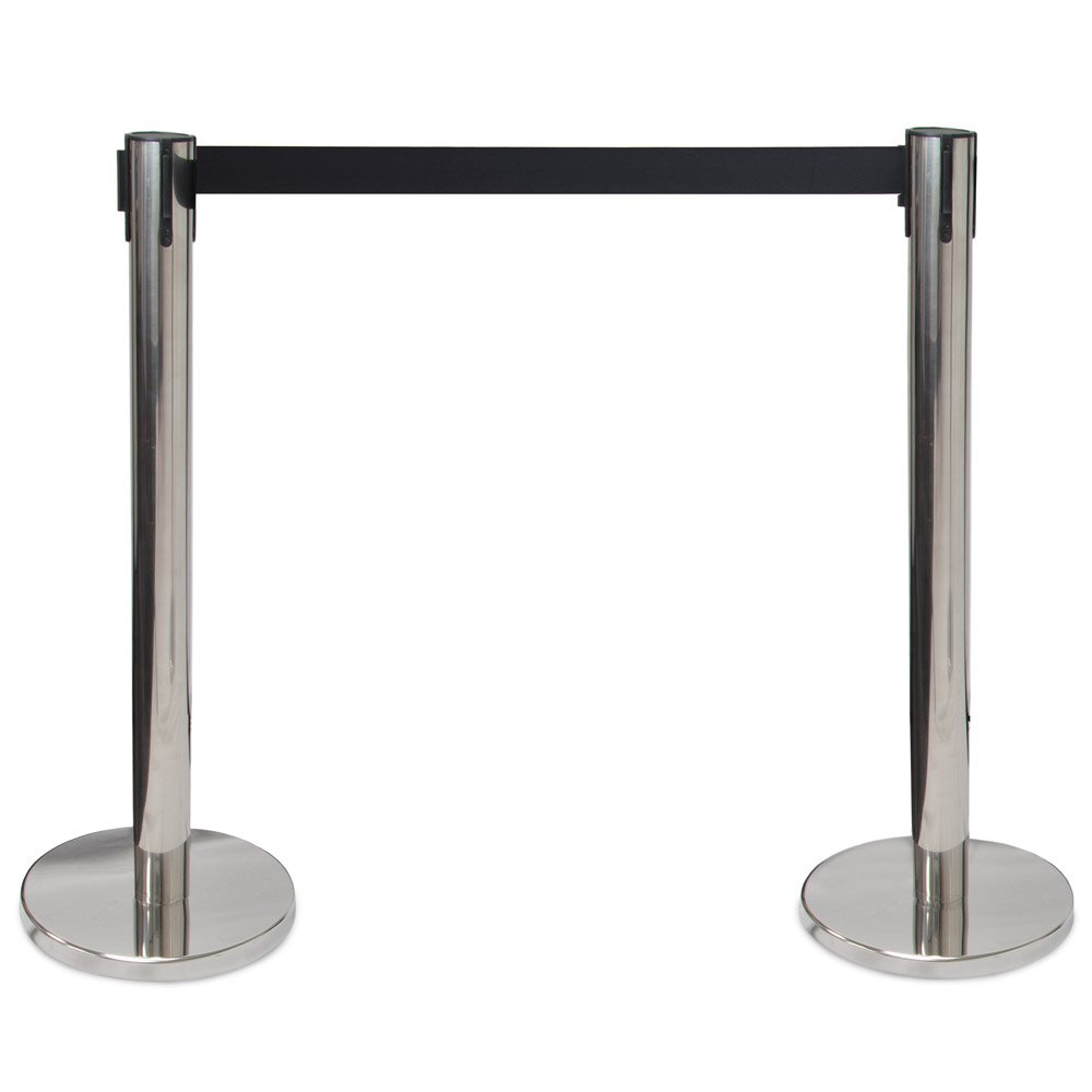 3-foot Crowd Control Stanchions with 6.25-foot Retractable Belt by Pudgy Pedro's Party Supplies (Silver)