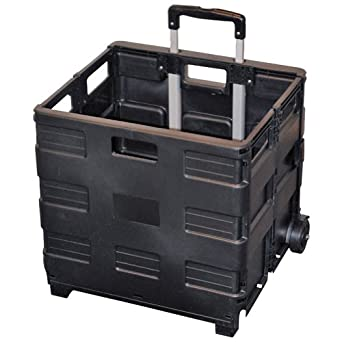 Easy Crate Rolling Foldable Plastic Crate with Telescopic Handle and 3-in. Wheels