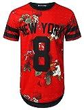 URBANTOPS Mens Hipster Hip Hop Stripe Rose Floral Longline T-Shirt RED, M