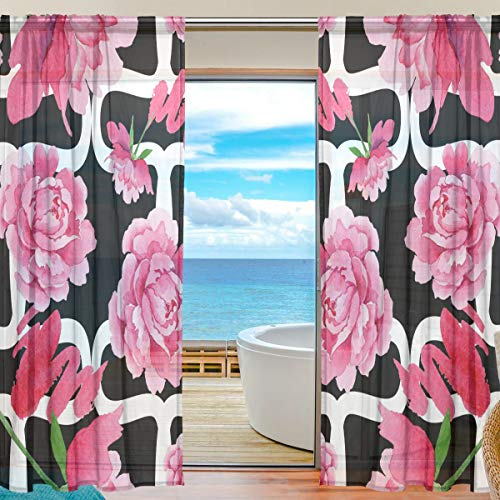 Top Carpenter Watercolor Pink Peony Flower Semi Sheer Curtains Window Voile Drapes Panels Treatment-55x78in for Living Room Bedroom Kids Room, 2 Pieces ()