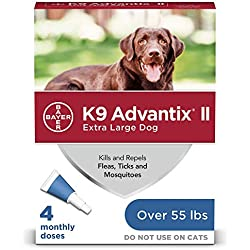 Bayer K9 Advantix II Flea, Tick and Mosquito Prevention for X-Large Dogs, Over 55 lb, 4 doses