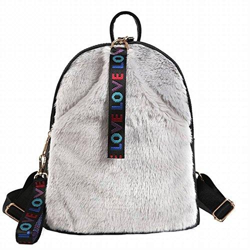 Plüsch Schultertasche Niedliche Damen Tasche Personalisierte Plüsch Rucksack Große Kapazität Dual Rucksack , schwarz