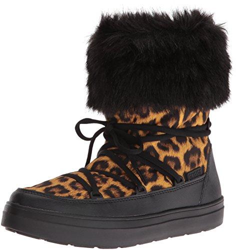 Crocs Women's Lodge Point Lace Snow Boot, Leopard/Black, 9 M US (Snow Leopard Boots)