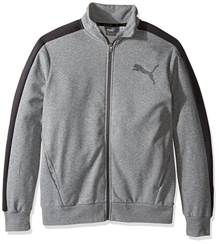 Jacket Track Core (PUMA Men's Colorblock P48 Core Track Jacket Fleece, Medium Gray Heather/Phantom, Large)