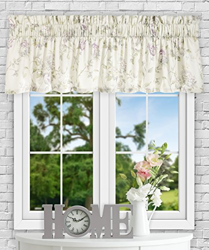 Green Tailored Valance - Simple Comfort Abigail Traditional Hydrangea Floral Print (Tailored Valance, 80 x 15, Lilac)