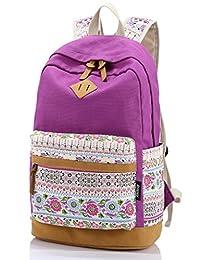 Leaper Cute Floral Canvas School Backpack Laptop Shoulder Bag Travel Rucksack Casual Daypack(Purple)