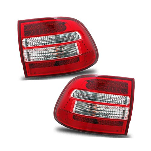 SPPC L.E.D Taillights Red/Clear Assembly Set for Porsche Cayenne - (Pair) Driver Left and Passenger Right Side ()