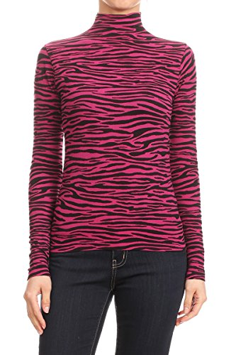- 2ND Date Women's Long Sleeve Mock Top -Zebra -Fuchsia