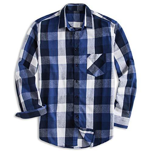 Brushed Flannel Shirt - PIZZ ANNU Men's 100% Cotton Long Sleeve Plaid Fleece Shirt Button Up Flannel Shirt(DTF02 L)