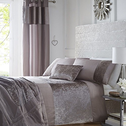 Luxury Crushed Velvet Panel Duvet Quilt Cover Bed Linen Bedding Set Mink - UK King / US Queen
