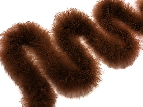 Moonlight Feather   2 Yards - Brown Turkey Medium Weight Marabou Feather Boa, 25 grams for Halloween, Costume, Party and More -