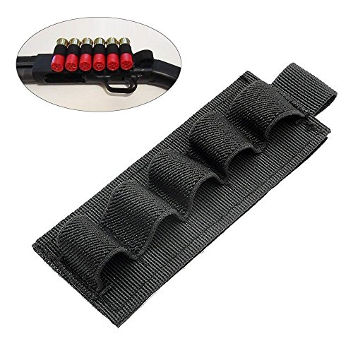 FUNANASUN 2-Pack Buttstock Holder Rifle Cartridge Shotgun Ammo Carrier Adhesive Side Saddle 5 Shells for 12Ga 20Ga - Shotgun Ammo Holder