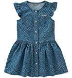 Calvin Klein Baby Girls Denim Dress, Medium wash Blue/Print, 12M