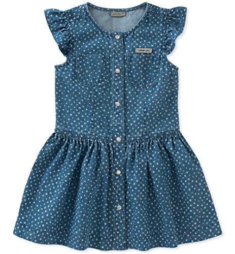 Kids Medium Wash - Calvin Klein Toddler Girls' Denim Dress, Medium Wash Blue/Print, 3T