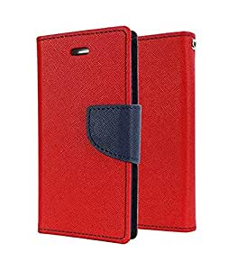 Americhome Artificial Leather INSIDE SILICONE WITH CASH POCKET FLIP COVER FOR Motorola Moto E2 (2nd Gen) Red