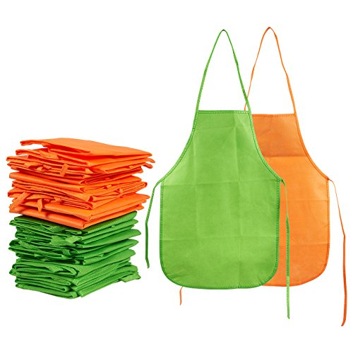Juvale Artists Aprons Kids, 24 Pack Childrens Smocks Painting, Kitchen, Classroom, Art Craft Event, Green Orange, 13 x 19 inches