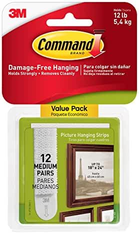 Command Picture Hanging Strips Value Pack, Medium, White, 12-Pairs (17204-12ES)