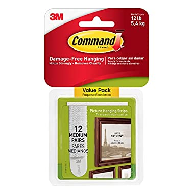 Command Picture Hanging Strips Value Pack, Medium, White, 12-Strips (17204-12ES)