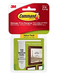 Command Picture Hanging Strips Value Pack, Medium, White, 12-...