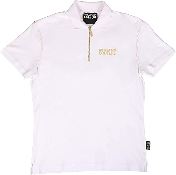 Versace Jeans Couture Cotton Embroidered Logo White Polo