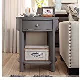 Single Piece Grey 1 Drawer Oval Wood Shelf Accent End Traditional Style  Oval Wood Table With Spacious Drawer,convenient Storage,enduring Quality  Convenient