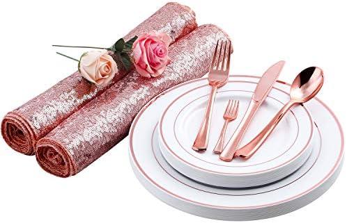 YIMIL - Platos de plástico desechables de color oro rosa, juego de ...