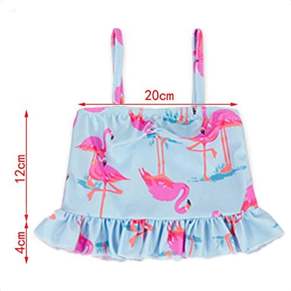 Baby//Toddler Girl 2 Piece Flamingo Swimsuit Set Ruffled Kid Bikini Swimwear