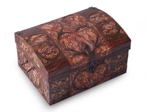 NOVICA Leaf And Tree Pinewood Leather Jewelry Box, Brown, 'Autumn Leaves' by NOVICA