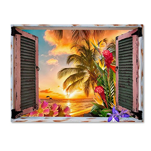 Tropical Window to Paradise II by Leo Kelly, 35×47-Inch Canvas Wall Art