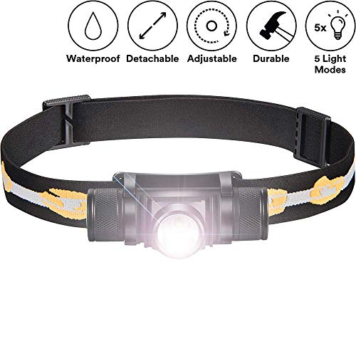 SLONIK 500 Lumen Rechargeable LED Headlamp w/ 2200 mAh Battery - Durable, Waterproof and Dustproof Headlight - Amazing 220-yards Beam - Works as Camping and Hiking Gear