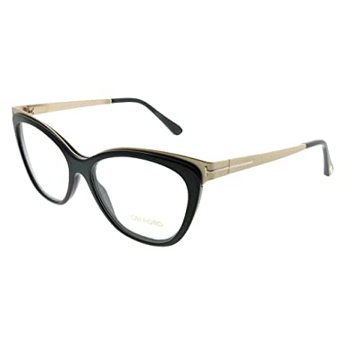 62f63f490459 Image Unavailable. Image not available for. Color  Tom Ford FT 5374 001  Shiny Black Gold Metal Cat-Eye Eyeglasses 54mm