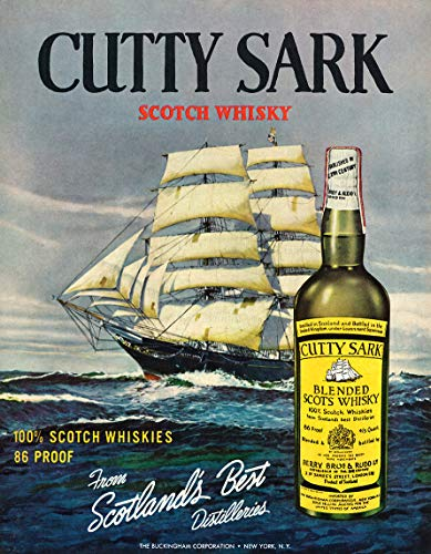 WholesaleSarong 1962 Cutty Sark Blended Scotch Whisky Ship Ocean Liquor ad Retro Poster Room Wall Decor Home Accents