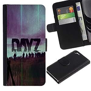 // PHONE CASE GIFT // Moda Estuche Funda de Cuero Billetera Tarjeta de crédito dinero bolsa Cubierta de proteccion Caso Apple Iphone 5 / 5S / Dayz Z - Zombie Game /